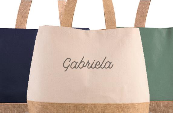 Bolso de algodón y yute personalizado con tu nombre