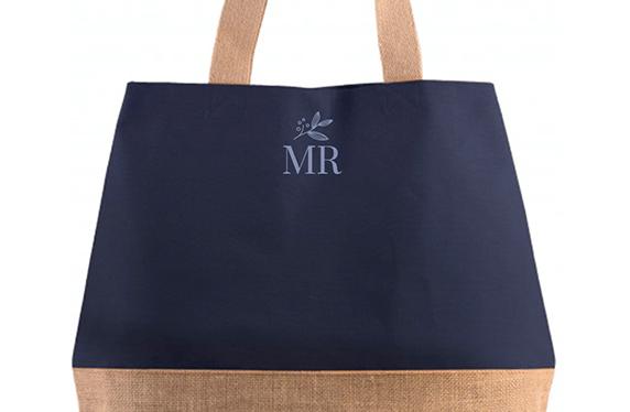 Bolso de algodón y yute personalizado con tus iniciales