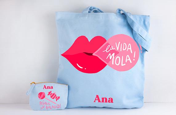 """Bolso y monedero personalizado: """"La Vida Mola"""""""