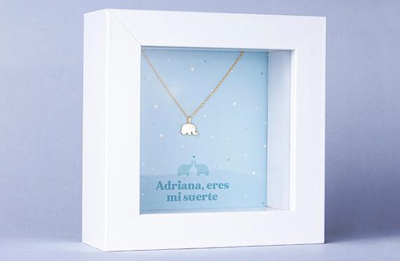 """Colgante de plata """"Elefante"""" en marco caja personalizado"""
