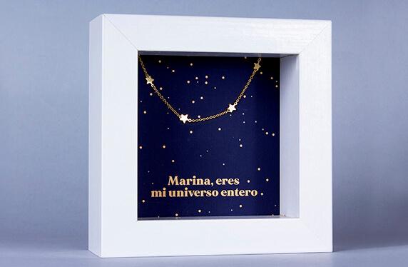 """Colgante de plata """"Estrellas"""" en marco caja personalizado"""