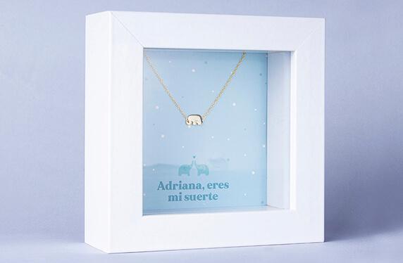"""Pulsera de plata """"Elefante"""" en marco caja personalizado"""