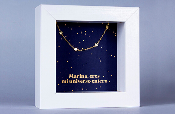 """Pulsera de plata """"Estrellas"""" en marco caja personalizado"""