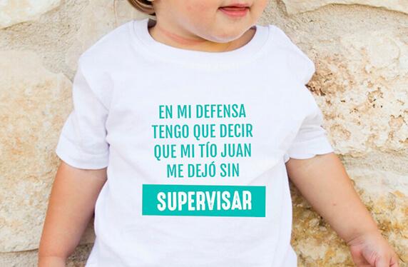 "Camiseta personalizada niño. Modelo ""Mi tío me dejó sin supervisar"""