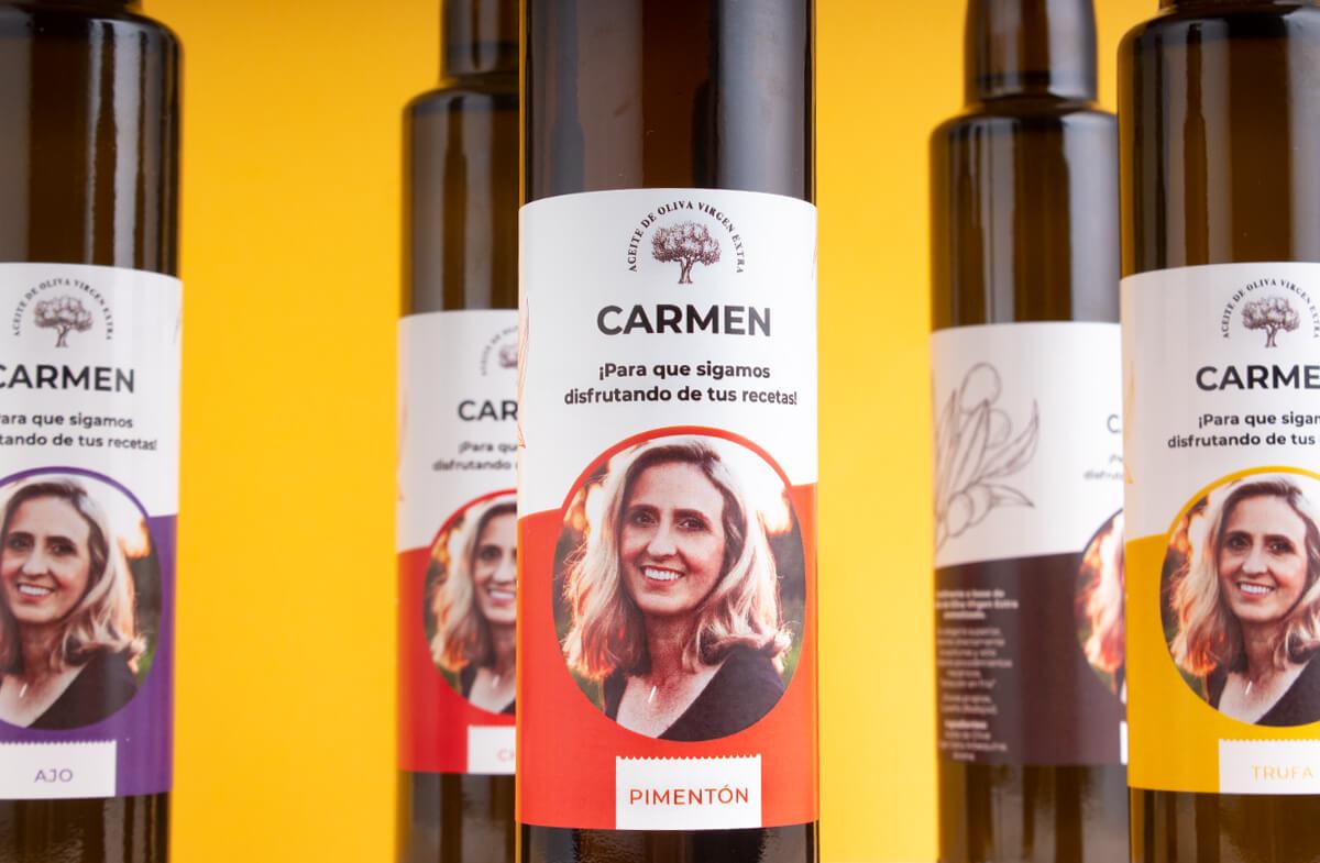 Pack gourmet de aceites personalizados con foto