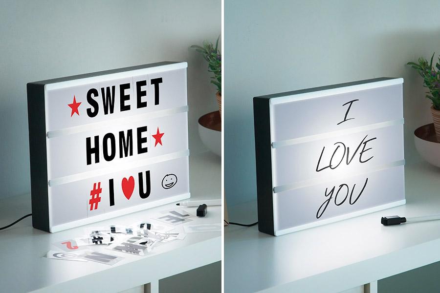 Caja de luz para decorar con mensajes