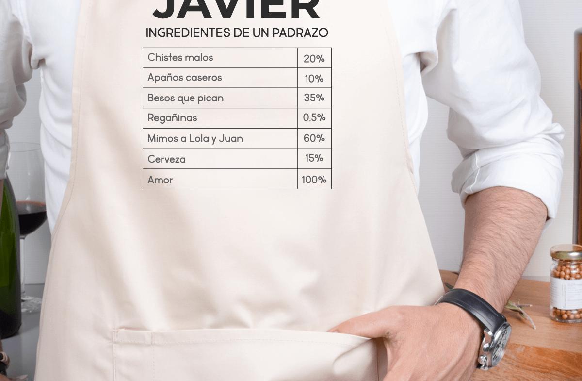 Delantal personalizado de algodón, «Ingredientes»