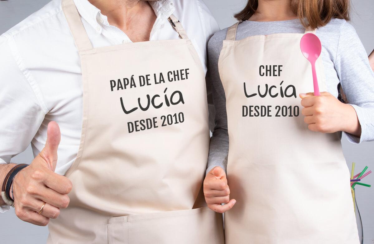 Los delantales personalizados para chef y mini-chef