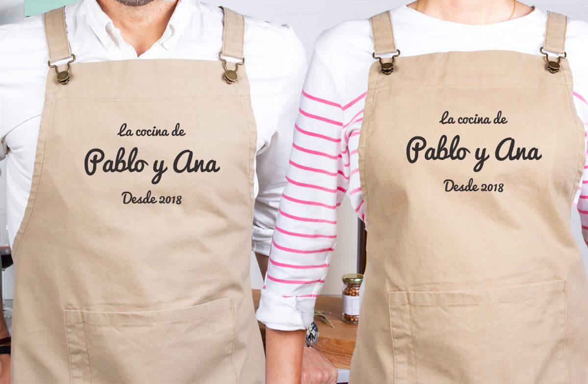 Delantales personalizados para parejas cocinillas