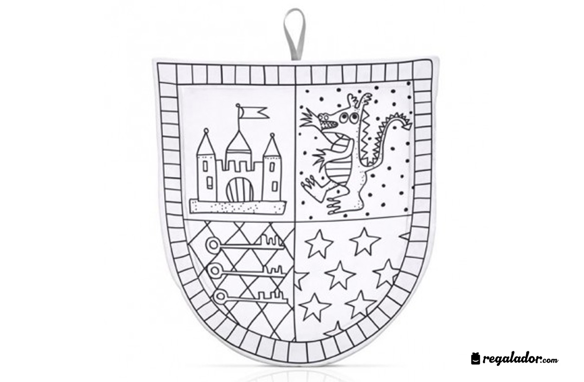 El escudo medieval más divertido para colorear en Regalador.com