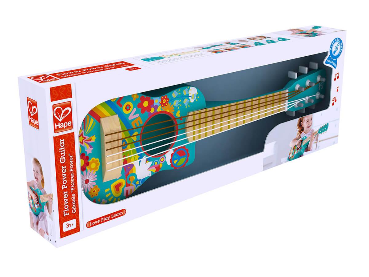 Guitarra hippie de madera