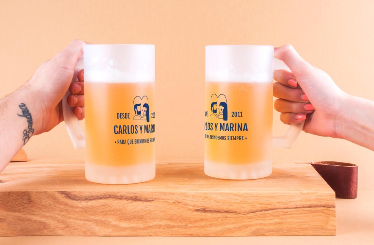 Jarras cerveza personalizadas, «Enamorados»