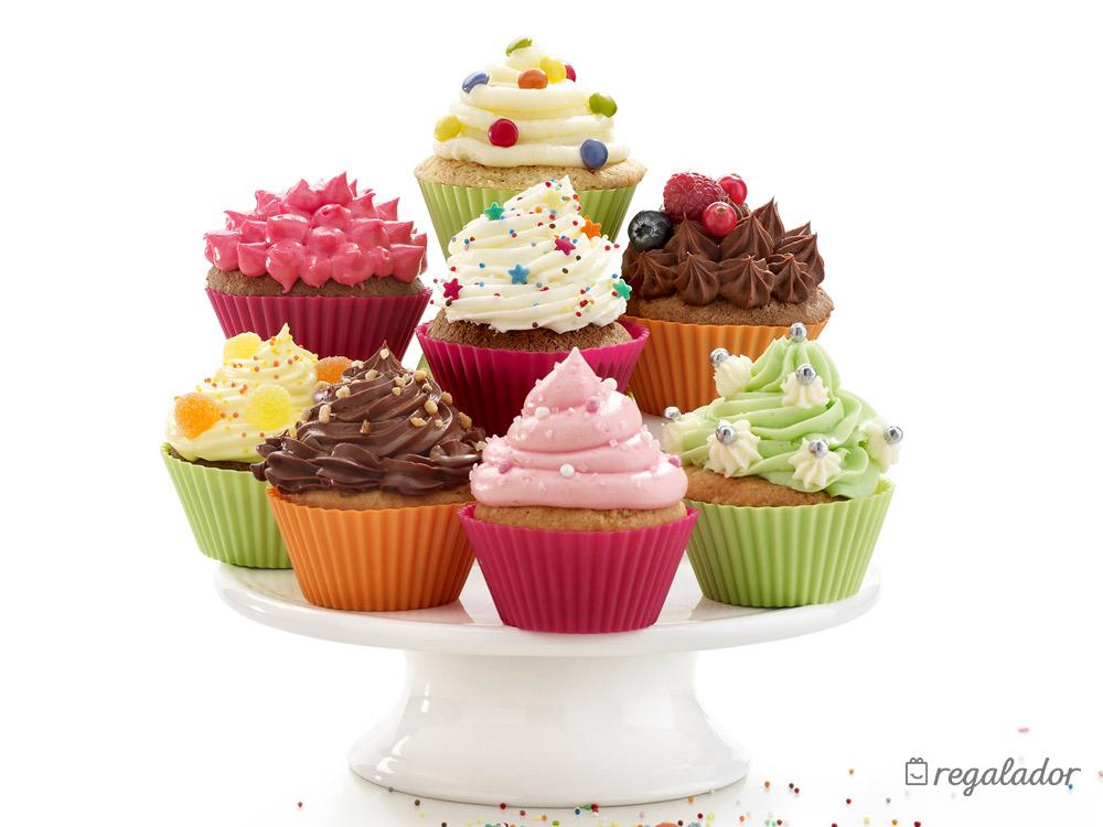Kit de l ku para hacer y decorar cupcakes en - Moldes cupcakes silicona ...