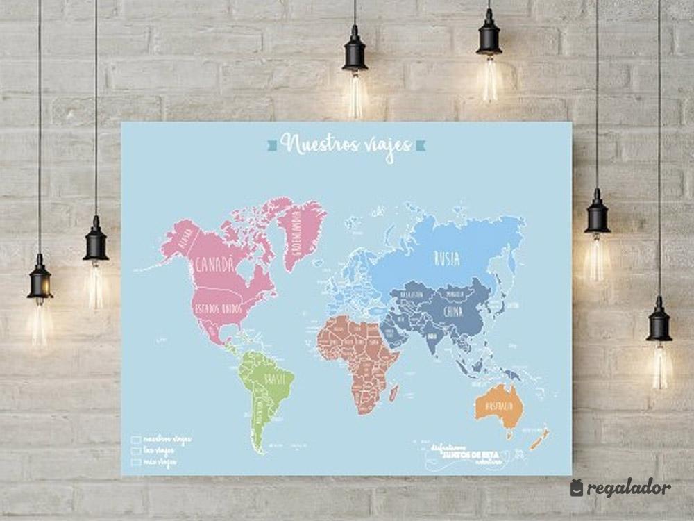 Mapamundi romántico para parejas viajeras