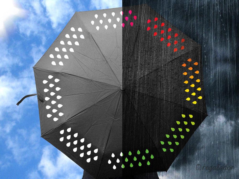 El paraguas que cambia de color con la lluvia