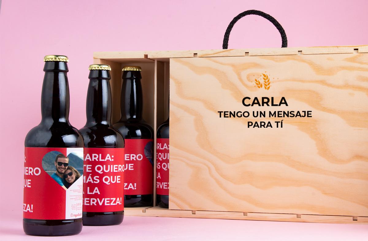 Pack de cerveza personalizada Mensaje Romántico