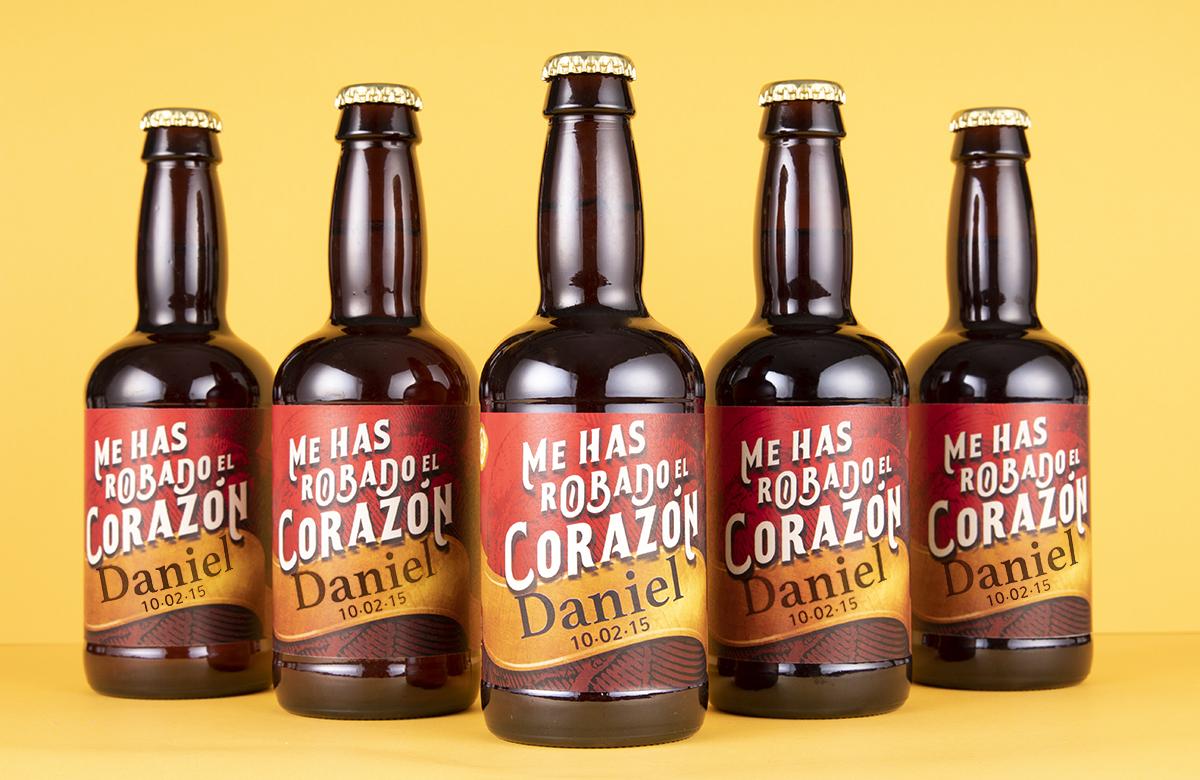 Pack de cerveza personalizada Modelo Corazón