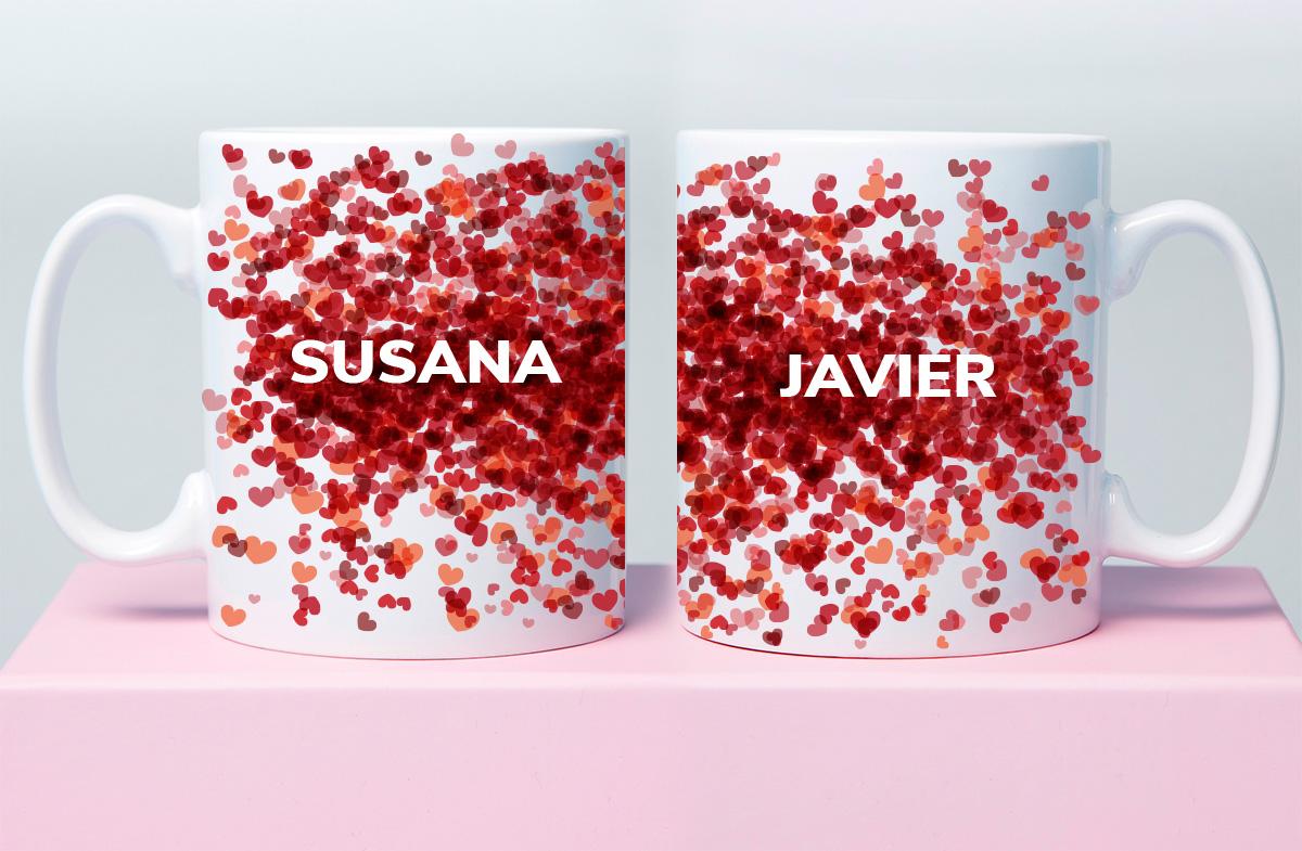 Taza personalizable con confetti