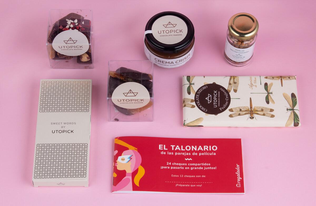Packs de chocolate gourmet con talonario