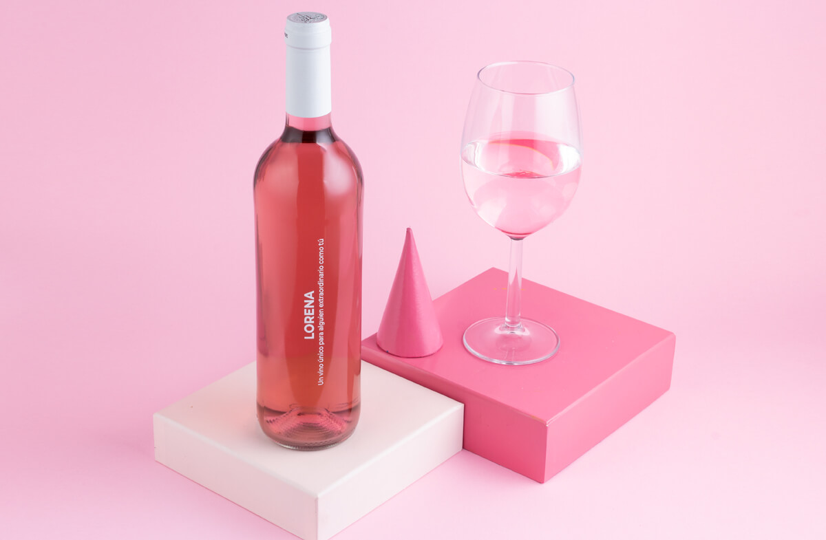 Vino rosa personalizado