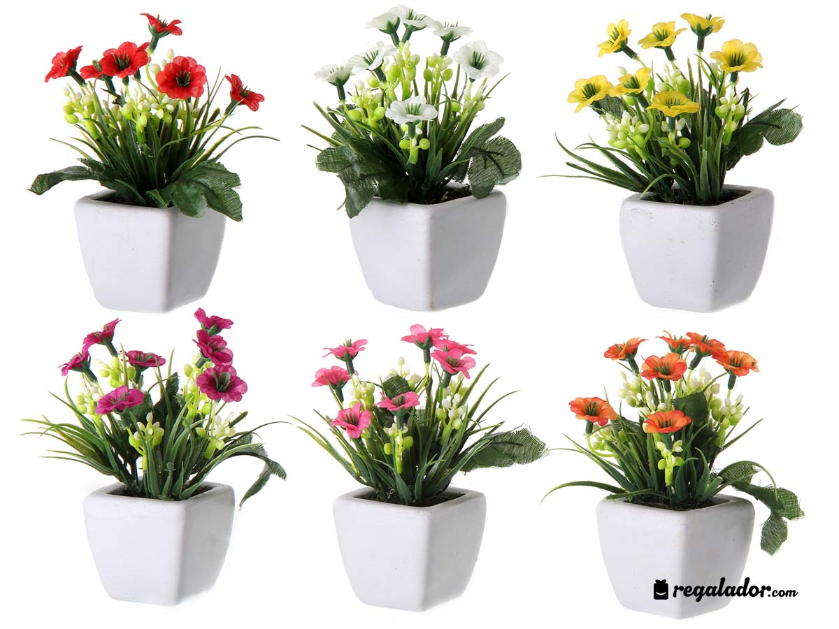 Juego de 6 plantas artificiales en varios colores for Plantas de interior artificiales