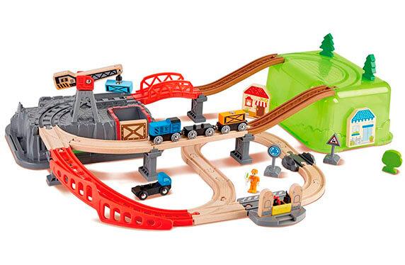 Cubo de juego de trenes y camiones de HAPE